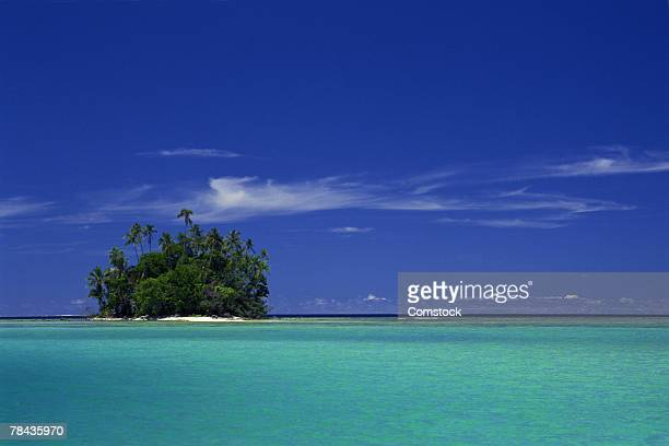 Isolated coral island in South Pacific