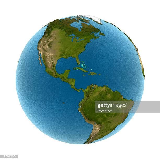 Isolierte Erde-Nth & SthAmerica: Konvex land 3d Meer