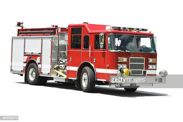 isolated fire truck - firetruck stock photos and pictures