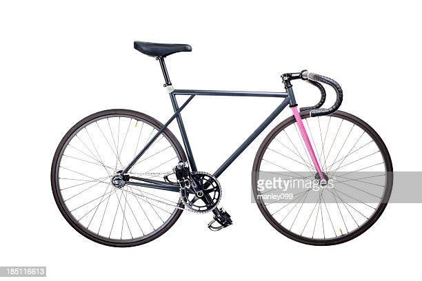 isolated fixie bike - racing bicycle stock pictures, royalty-free photos & images