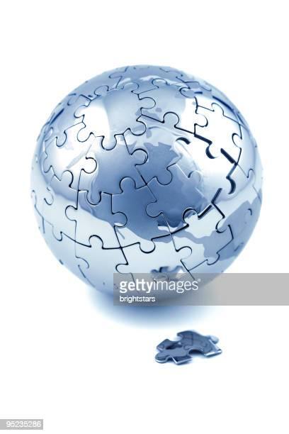 Isolated globe puzzle