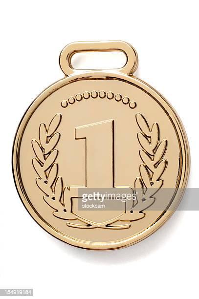 Isolierte Goldmedaille mit Nummer 1