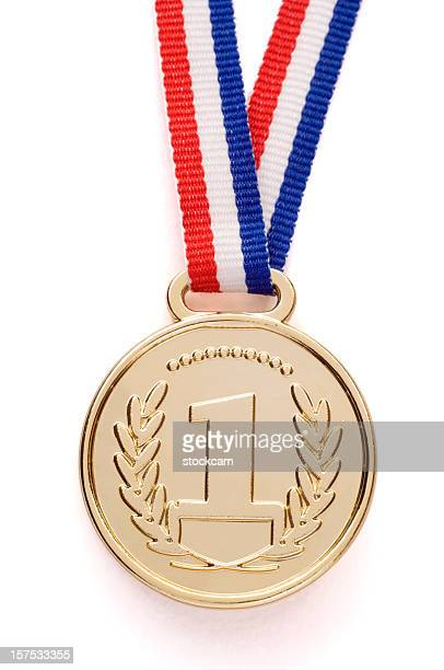 isolated gold medal with ribbon - medallion stock photos and pictures