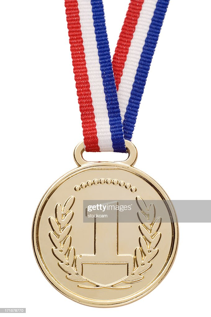 Isolated gold medal with ribbon : Stock Photo