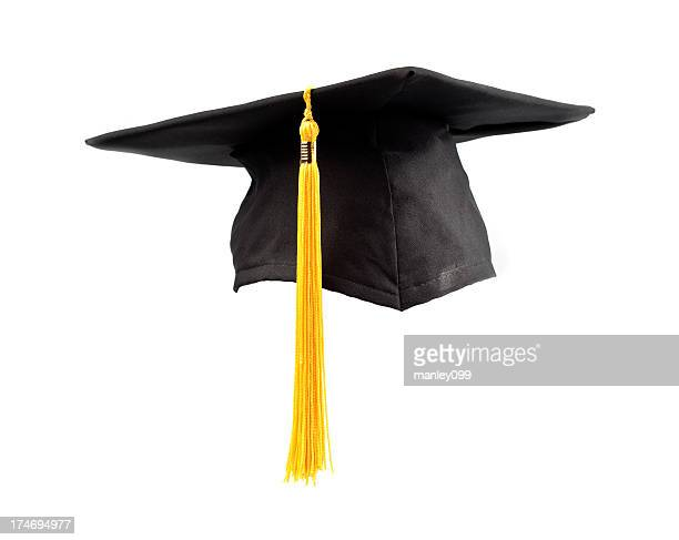 isolated graduation cap and tassel