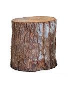 Isolated grunge log stool or chair craft artisan handmade furniture.