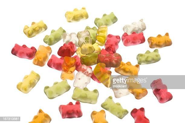 goma ursos em branco isolado - gummi bears - fotografias e filmes do acervo