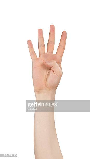 isolated hand, number four