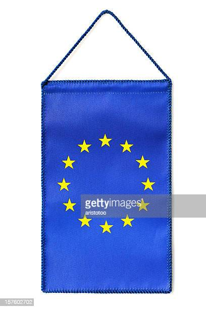 isolated hanging eu table flag - european union symbol stock photos and pictures