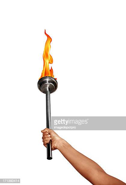 isolated holding flaming torch over white - flame stock pictures, royalty-free photos & images