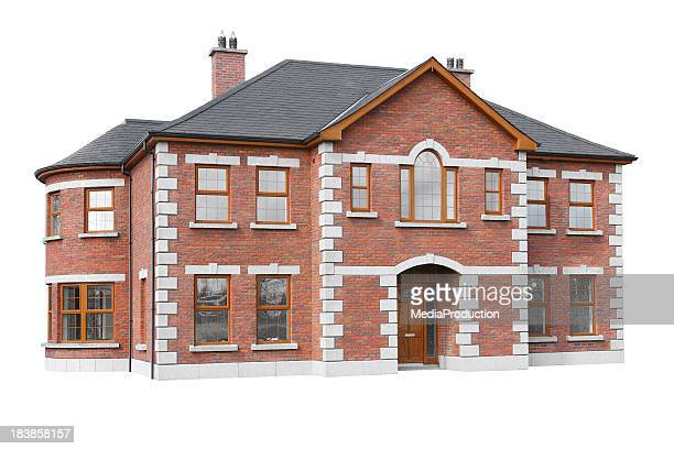 isolated house model - brick house stock pictures, royalty-free photos & images