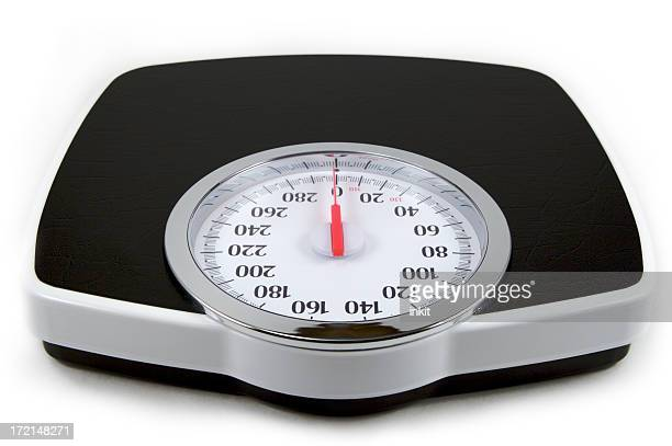 Isolated image of a black and white analog bathroom scale