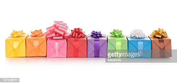 Giftboxes en una fila