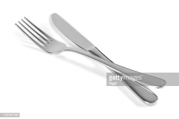 Isolated image of a set of fork and knife on white