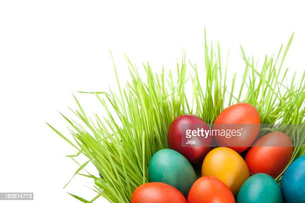 Isolated image of colorful Easter eggs in a hay basket