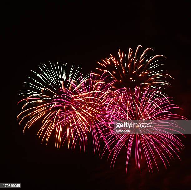 Isolated image of exploding fire crackers on black