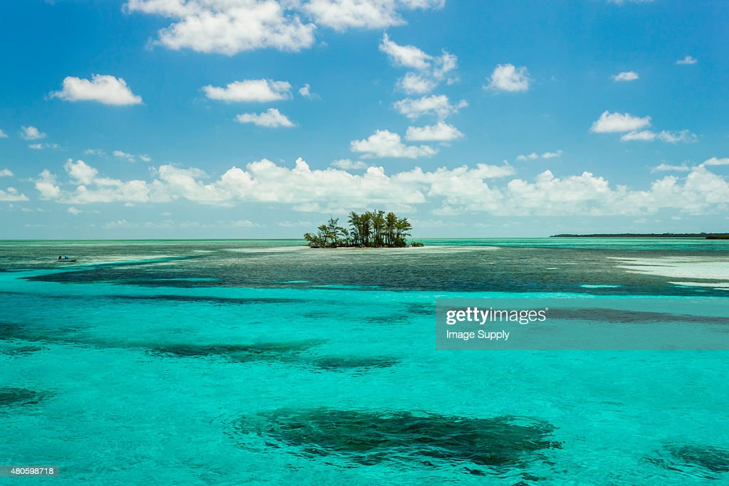 Isolated island in the Caribbean : Stock Photo