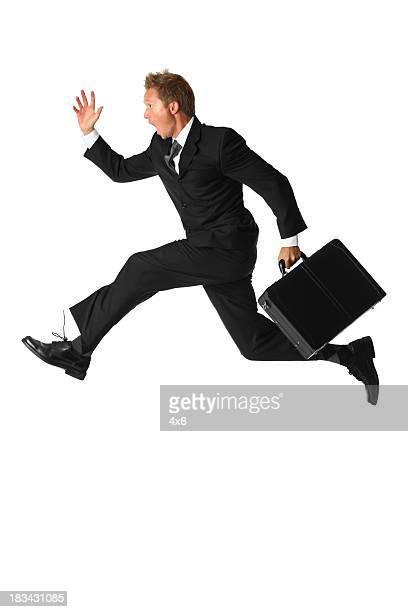 Aislado abogado corriendo tarde rushing