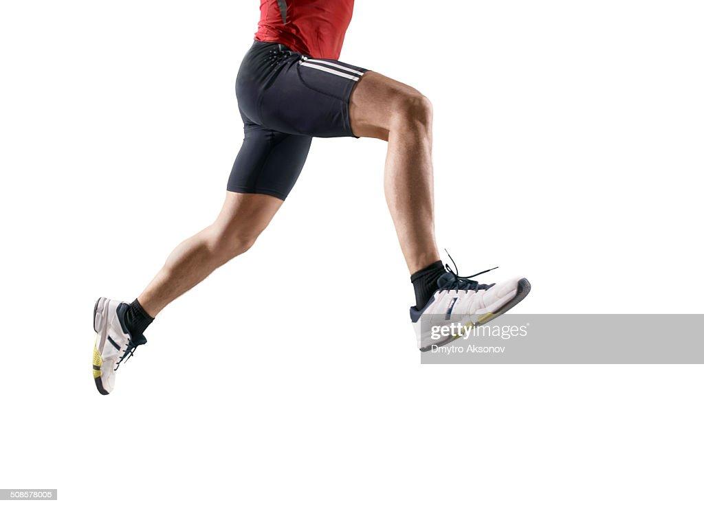 Isolated male athlete : Bildbanksbilder