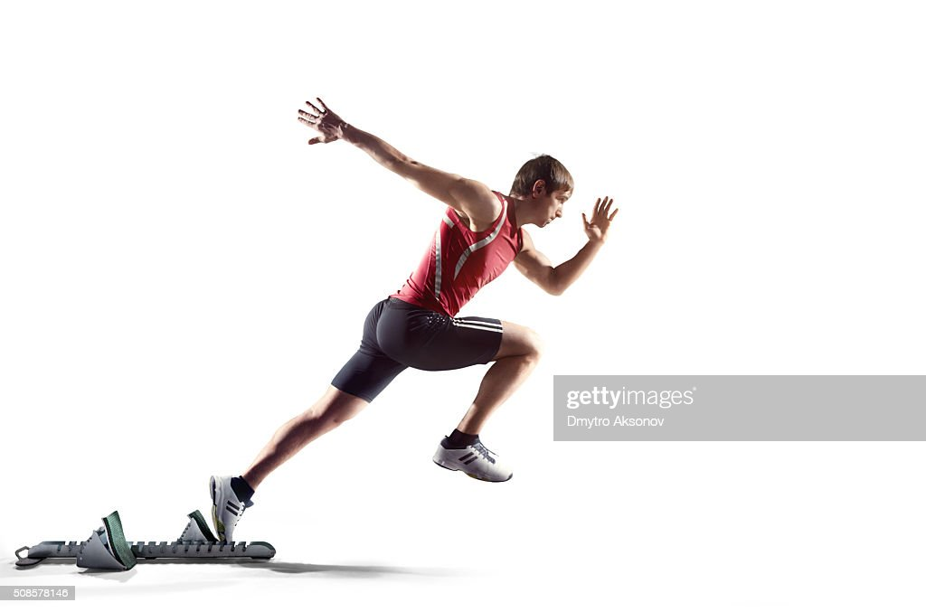 Isolated male athlete : Stockfoto
