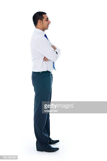 Isolated Man on White Side or Profile VIew
