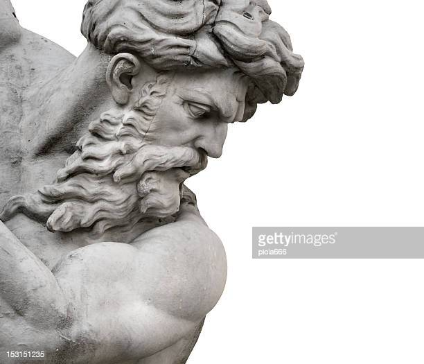 isolated neptune statue face from piazza navona - sculptuur stockfoto's en -beelden