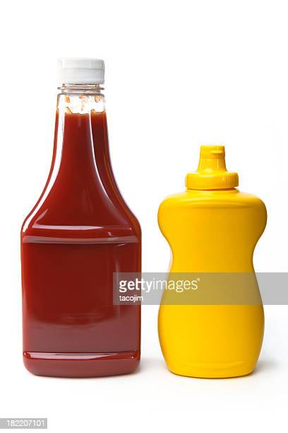 isolated objects - catsup and mustard - tomato sauce stock pictures, royalty-free photos & images