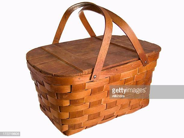 isolated picnic basket - picnic basket stock pictures, royalty-free photos & images