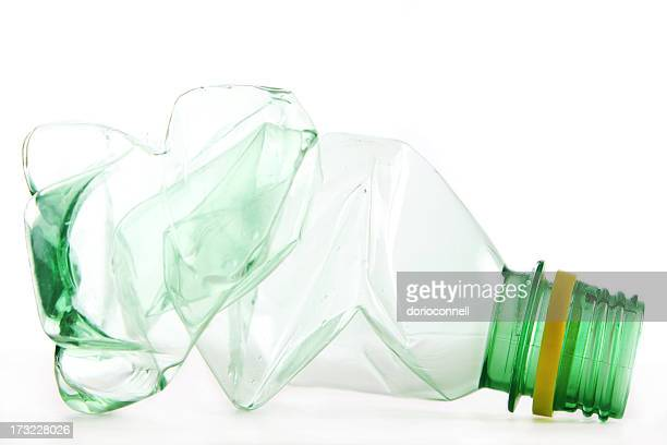 Isolated picture of a crumpled water bottle