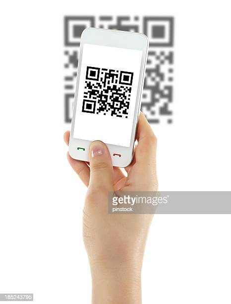 Isolated picture of a mobile phone scanning a QR code