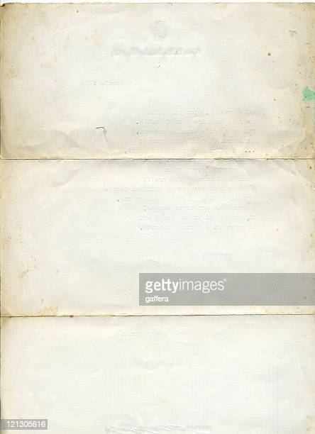 isolated picture of old, aged white paper - folded stock photos and pictures