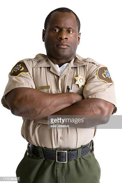 isolated portraits-african american law enforcement officer - sheriff stock pictures, royalty-free photos & images