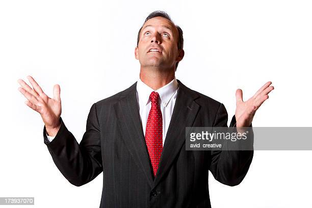 Isolated Portraits-Businessman Looking to the Heavens