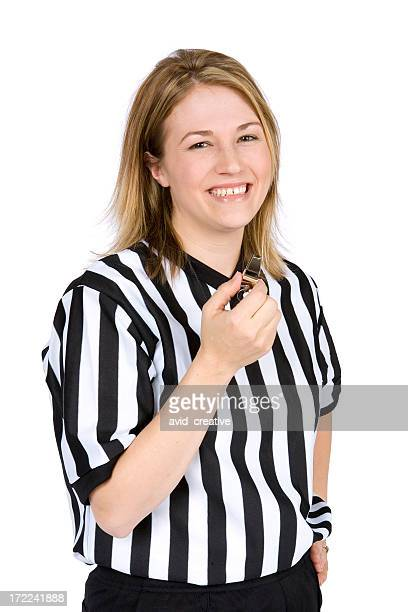isolated portraits-cute female basketball referee - referee stock pictures, royalty-free photos & images