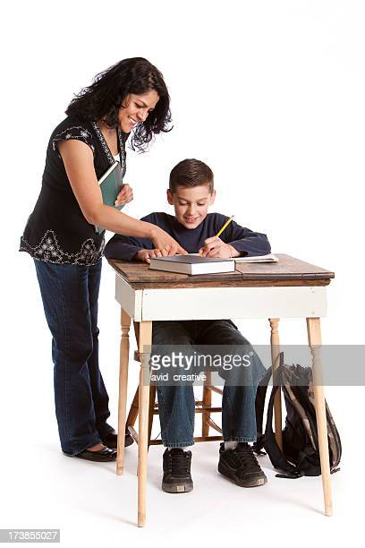 Isolated Portraits-Teacher Helping Student with Homework