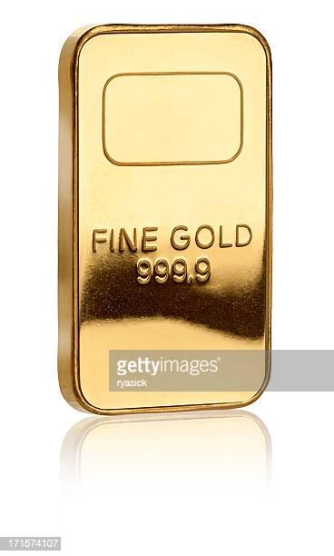 Isoliert Pure Gold Barren auf weiss Mit Clipping Path