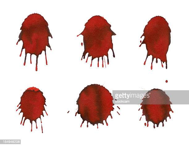 Isolated red blood drops close-up