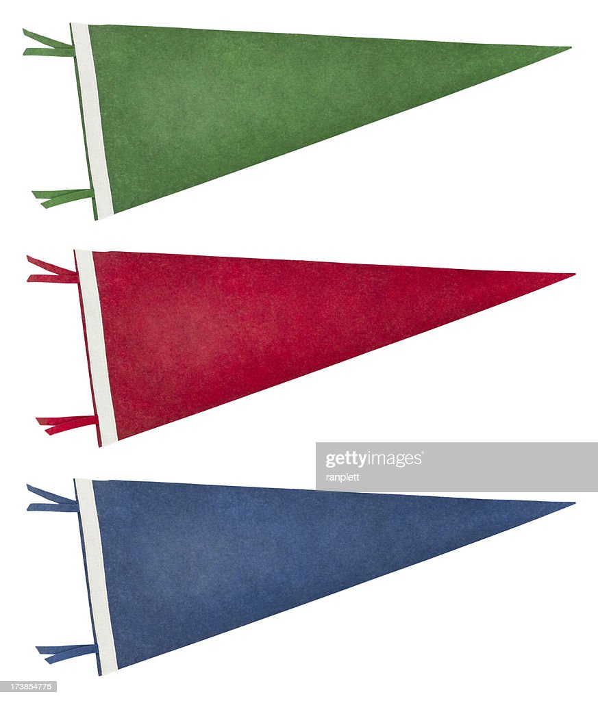 Isolated Retro Pennants (with Clipping Path) : Stock Photo