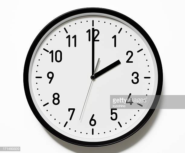 isolated shot of 2 o'clock clock face on white background - number 2 stock pictures, royalty-free photos & images