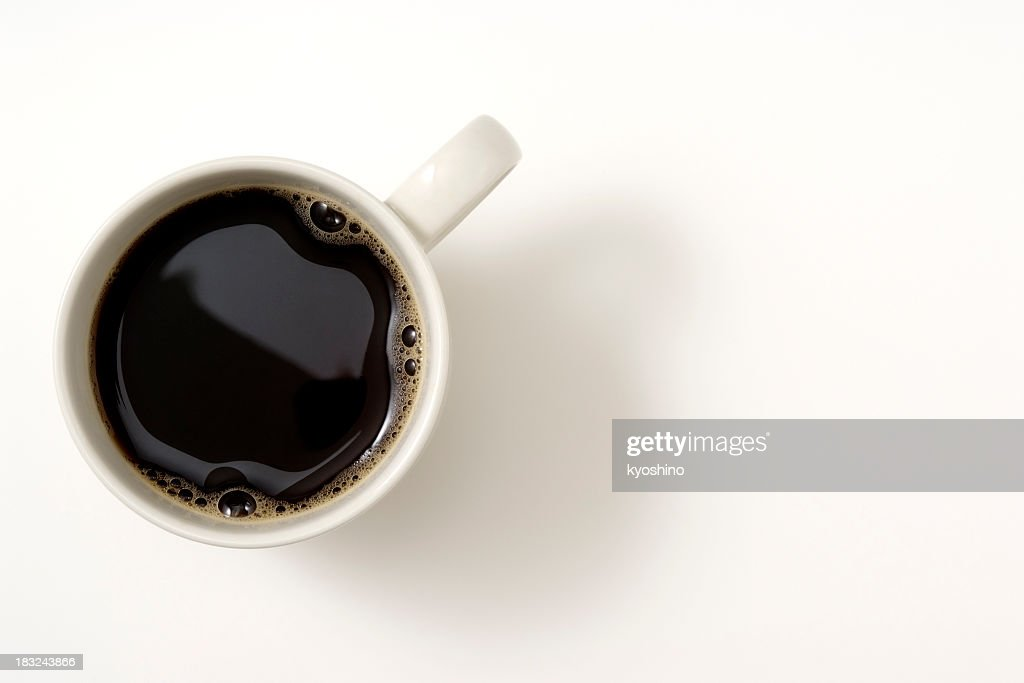 Isolated shot of a cup of coffee on white background : Stock Photo