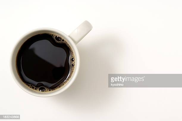 isolated shot of a cup of coffee on white background - directly above stock pictures, royalty-free photos & images