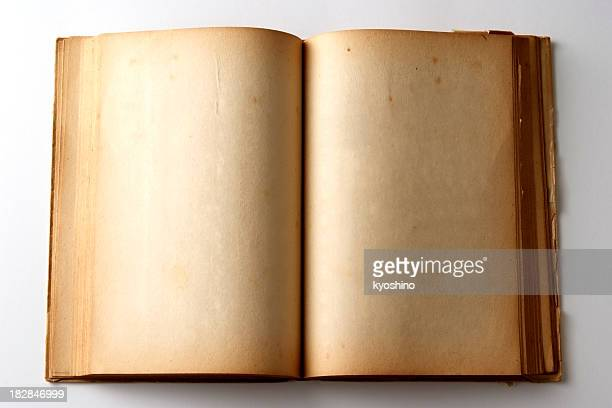 Isolated shot of aged blank book on white background