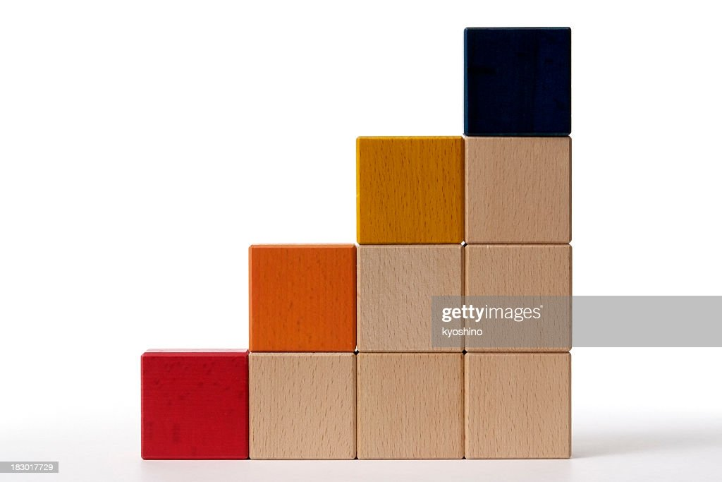 Isolated shot of bar chart from blocks on white background : Stock Photo