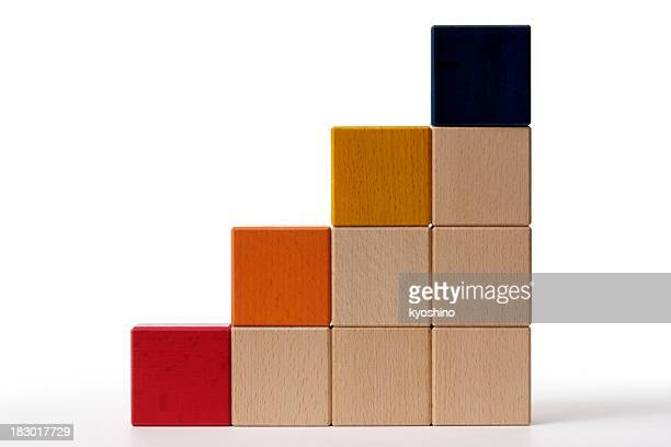 isolated shot of bar chart from blocks on white background - toy block stock pictures, royalty-free photos & images