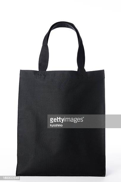 Isolated shot of black canvas tote bag on white background