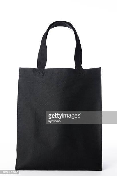 絶縁ショットのブラックのキャンバストートバッグを白背景