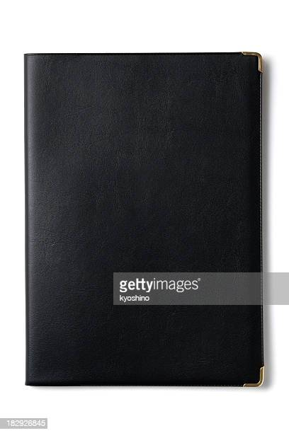 Isolated shot of black notebook on white background