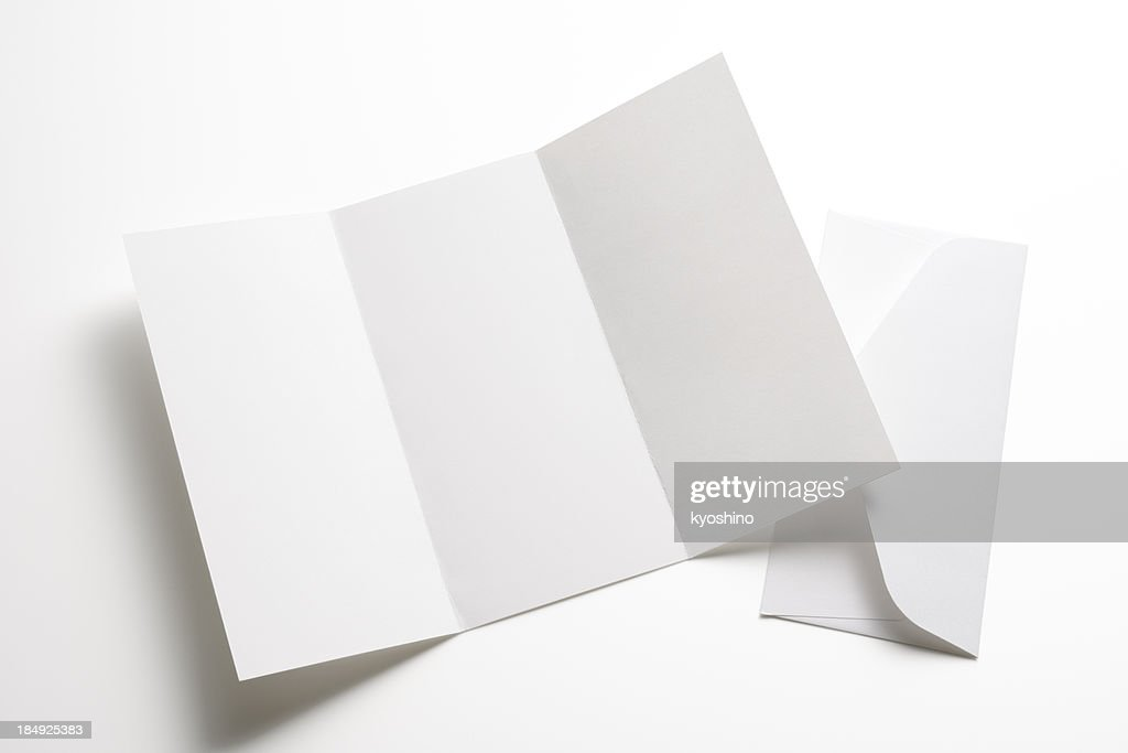 Isolated shot of blank booklet with envelope on white background : Stock Photo