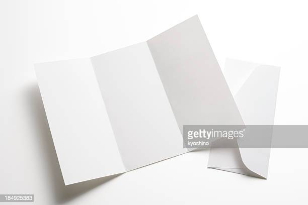 isolated shot of blank booklet with envelope on white background - flyer leaflet stock photos and pictures