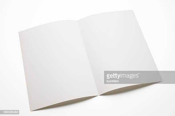 Isolated shot of blank brochure on white background